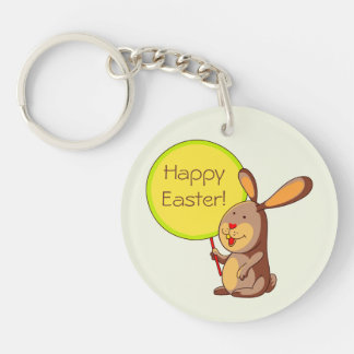 Brown Bunny Holding Board Double Sided Keychain