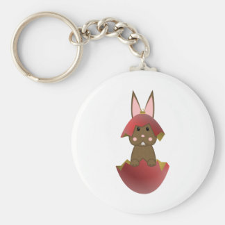 Brown Bunny In A Red Christmas Ornament Key Chains