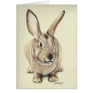 """Brown Bunny"" Rabbit Animal Art Greeting Card"