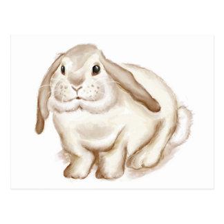 Brown Bunny Watercolor Postcard