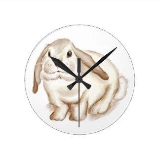 Brown Bunny Watercolor Round Clock