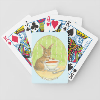 Brown Bunny with Cup of Coffee Bicycle Playing Cards