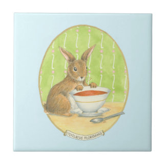 Brown Bunny with Cup of Coffee Tile