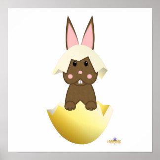 Brown Bunny Yellow Easter Egg Print