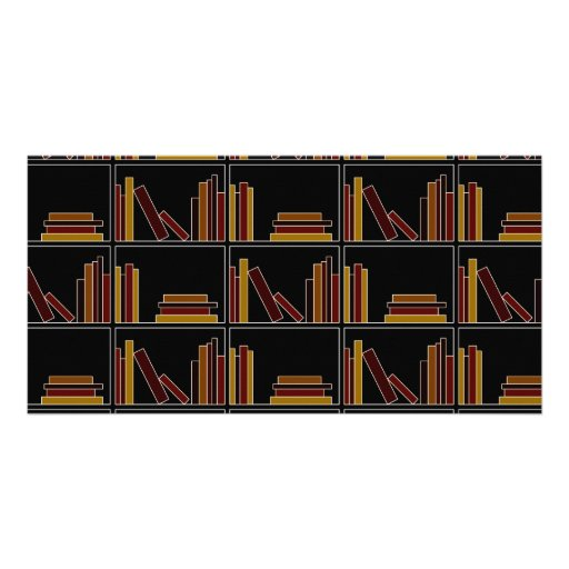 Brown, Burgundy and Mustard Color Books on Shelf. Photo Card