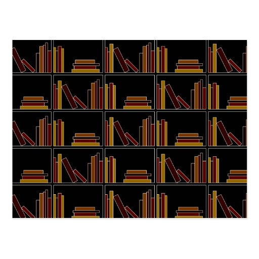 Brown, Burgundy and Mustard Color Books on Shelf. Post Cards