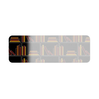 Brown, Burgundy and Mustard Color Books on Shelf. Return Address Label