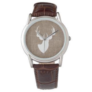 Brown Burlap and White Deer Silhouette Watch