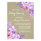 Brown Burlap Purple Watercolor Flowers Baby Shower Card