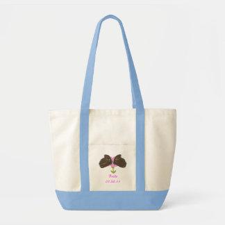 Brown Butterflies on Pink Flower Bride tote bags