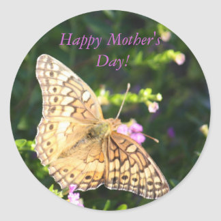 Brown butterfly Mother's Day stickers! Round Sticker