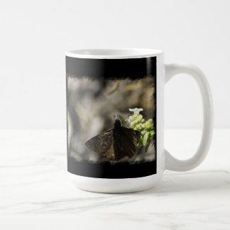 Brown Butterfly on Black Coffee Mug