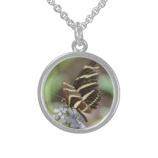 Brown Butterfly on flower silver necklace