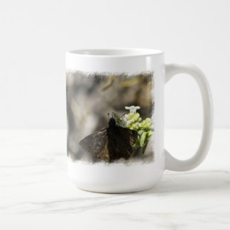 Brown Butterfly On White Coffee Mug