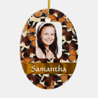 Brown butterlfies photo template christmas ornament