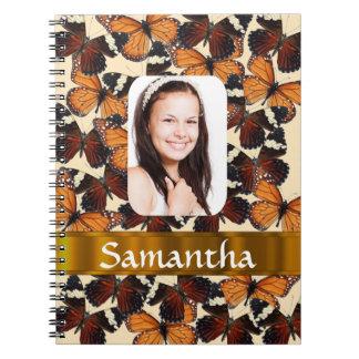 Brown butterlflies pattern photo template notebook