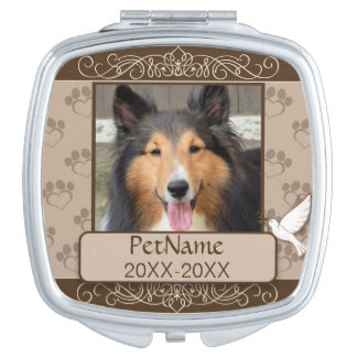 Brown Calligraph Swirls Custom Pet Sympathy Compact Mirror
