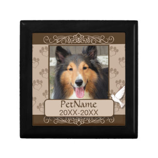 Brown Calligraph Swirls Custom Pet Sympathy Gift Box