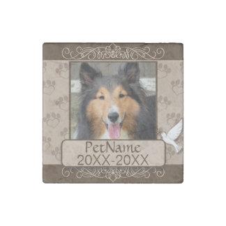 Brown Calligraph Swirls Custom Pet Sympathy Stone Magnet