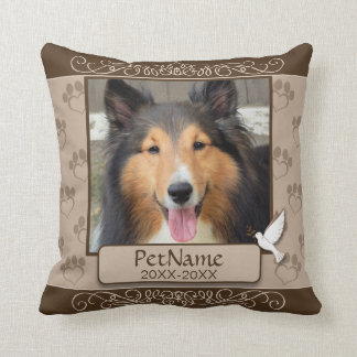 Brown Calligraph Swirls Custom Pet Sympathy Throw Pillow