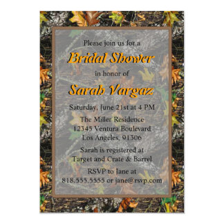 """Brown - Camo Bridal Shower Invitations 5"""" X 7"""" Invitation Card"""