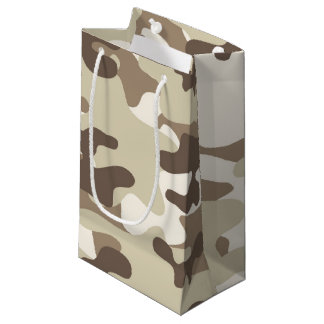 Brown Camo Design Small Gift Bag