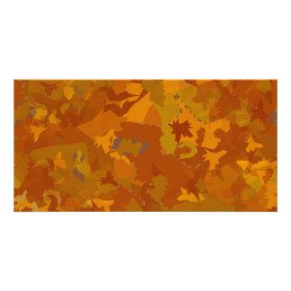 brown camo oak color pattern collage custom photo card