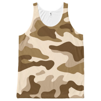 Brown Camouflage Pattern All-Over Print Tank Top