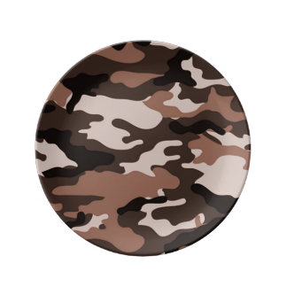 Brown Camouflage Pattern Porcelain Plates
