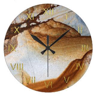 Brown Caramel Gold & White Faux Stone Wall Clock