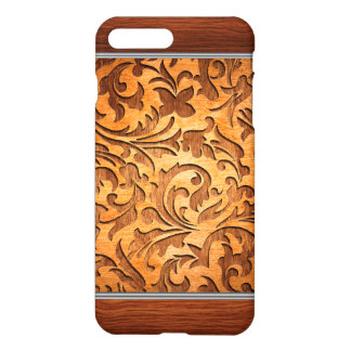 Brown Carved Wood Texture Floral Design iPhone 7 Plus Case