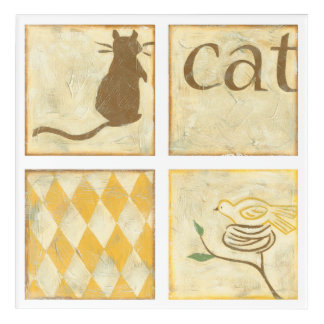 Brown Cat and  Yellow Bird by Chariklia Zarris Acrylic Wall Art