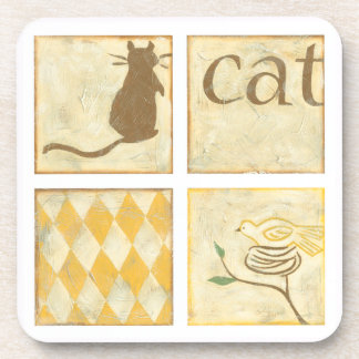 Brown Cat and  Yellow Bird by Chariklia Zarris Coaster