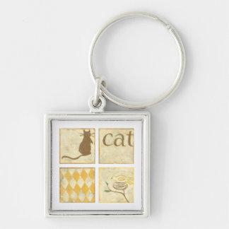 Brown Cat and  Yellow Bird by Chariklia Zarris Key Ring