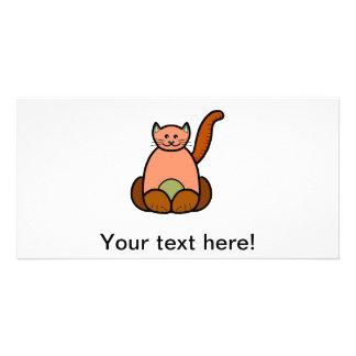 Brown cat cartoon photo cards