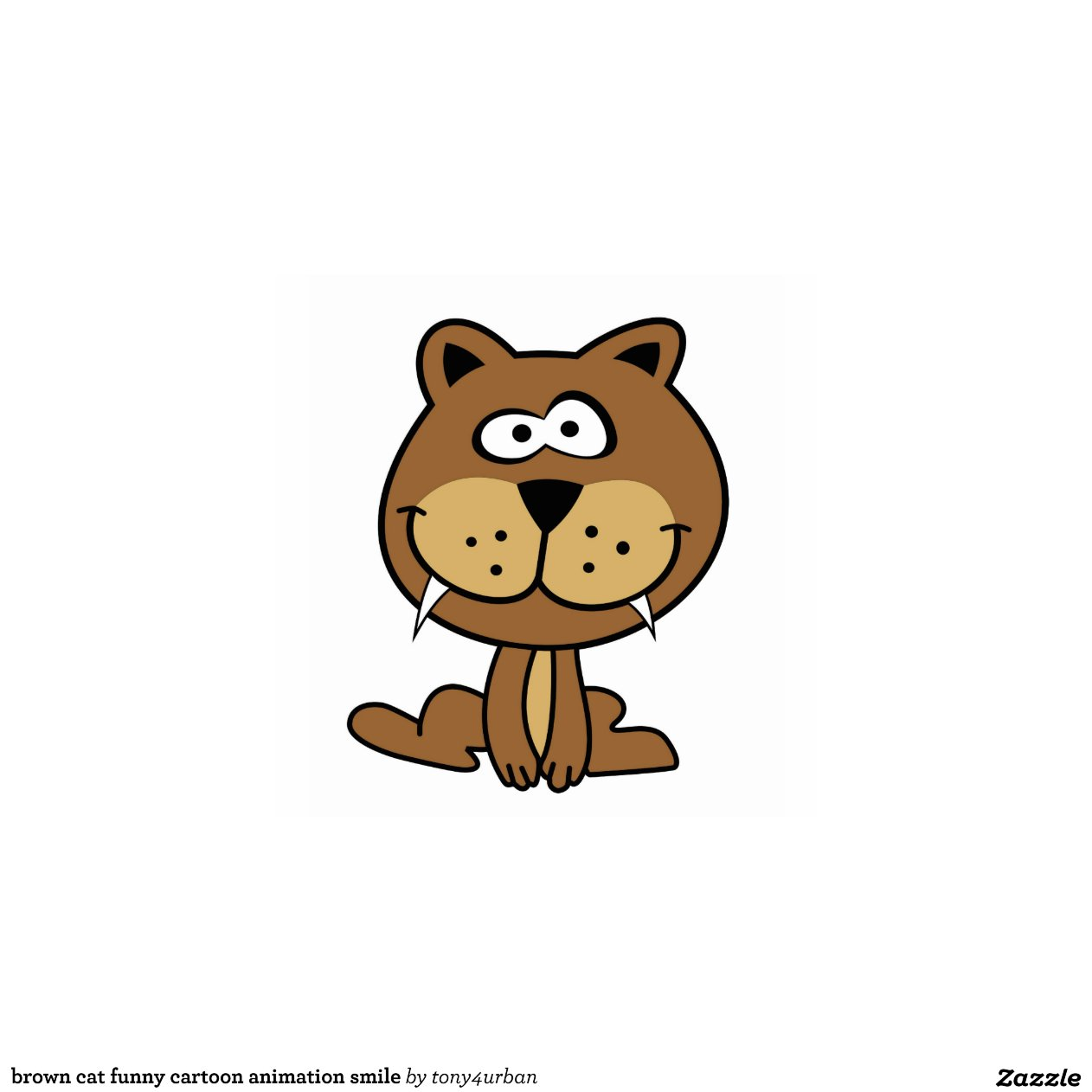 brown cat funny cartoon animation smile cut outs | Zazzle