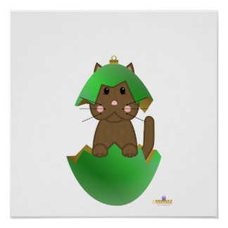 Brown Cat Green Christmas Ornament Posters