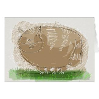 Brown cat greeting card