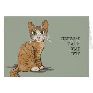 Brown Cat Illustration Greeting Card