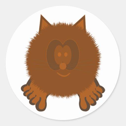 Brown Cat Pom Pom Pal Stickers