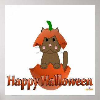 Brown Cat Pumpkin Happy Halloween Posters