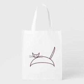 Brown cat reusable grocery bag