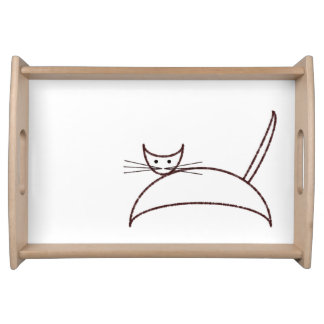 Brown cat serving tray