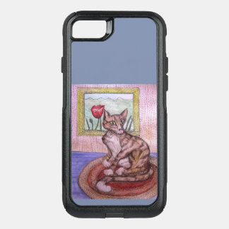 brown cat watercolor ink drawing phone case