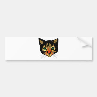 Brown Cat with Green Eyes Bumper Stickers