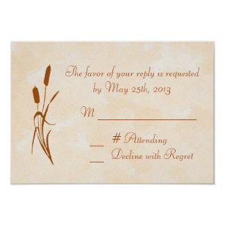 Brown Cattail Wedding RSVP Card 9 Cm X 13 Cm Invitation Card