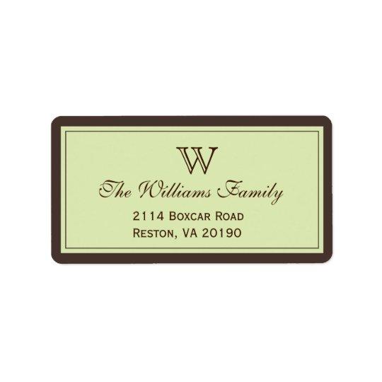 Brown & Celadon Classic Border Label