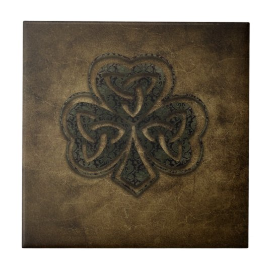 brown celtic knot clover small square tile