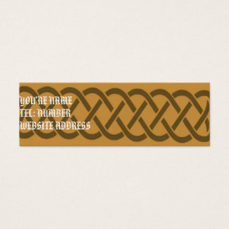 Brown Celtic knot on Yellow Mini Business Card