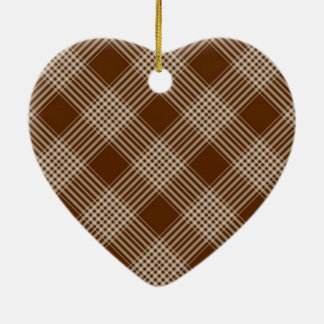 Brown Check Plaid Ceramic Heart Decoration